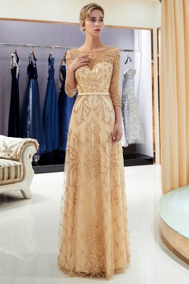 A-line Illusion Neckline Long Beading Evening Gowns with Sleeves_26