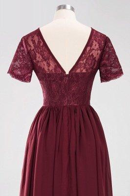 A-line Chiffon Lace Jewel Short-Sleeves Floor-length Bridesmaid Dress_44