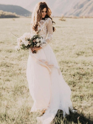 Long Sleeve Bridal Gowns Cheap Online | Floor Length Appliques Tulle Sexy Wedding Dresses_2