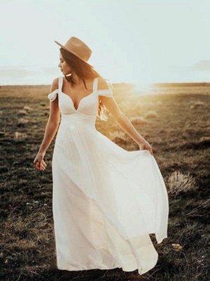 Short Sleeves Ruffles V-neck Straps Bridal Gowns | Floor Length Chiffon Sexy Wedding Dresses Cheap_1