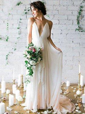 Sweep Train A-Line Sleeveless Bridal Gowns Cheap | Ruffles Chiffon Spaghetti Straps Wedding Dresses Sexy_1