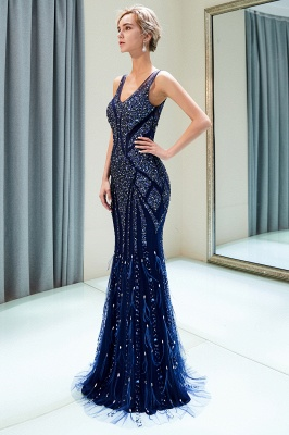 Mermaid Sleeveless V-neck Sequins Pattern Long Evening Gowns_8