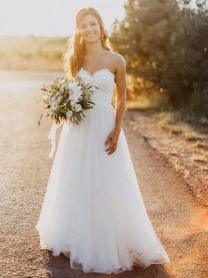Floor Length Tulle A-Line Bridal Gowns Cheap | Sexy Ruched Sweetheart Sleeveless Wedding Dresses_1