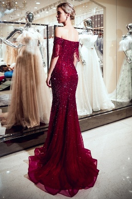 Off-the-shoulder V-neck Mermaid Floor Length Sequins Evening Dresses_4