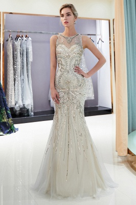 Glamorous Beading Mermaid Sleeveless Long Evening Dresses_6