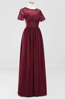 A-line Chiffon Lace Jewel Short-Sleeves Floor-length Bridesmaid Dress_42