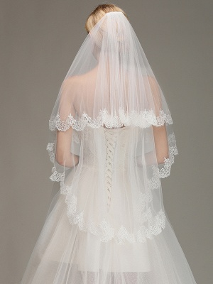 Elegant Two Layers Lace Edge Wedding Veil Appliques Long Bridal Veil_2