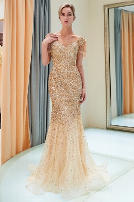 Off-the-shoulder V-neck Mermaid Floor Length Sequins Evening Dresses_17