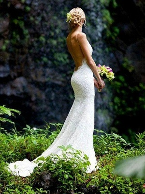 Court Train Close-fitting Spaghetti Straps Sexy Bridal Gowns | Cheap Lace Sleeveless V-neck Wedding Dresses_1