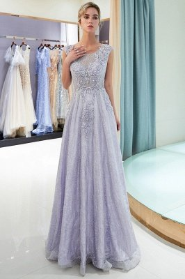 A-line Sleeveless Lace Appliques Flowers Formal Dresses