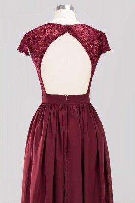 A-line Chiffon Lace V-Neck Sleeveless Floor-Length Bridesmaid Dresses with Ruffles_5