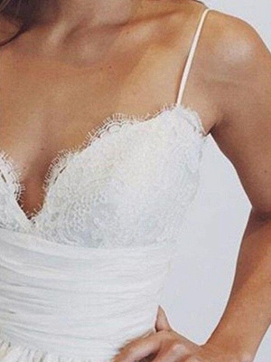 Sweep Train Ball Gown Wedding Dresses Cheap   Sleeveless Ruched Satin Sexy Spaghetti Straps Bridal Gowns_3
