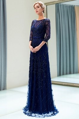 A-line Illusion Neckline Long Beading Evening Gowns with Sleeves_12