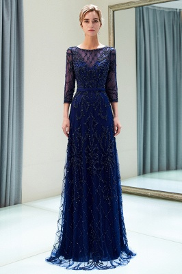 A-line Illusion Neckline Long Beading Evening Gowns with Sleeves_14