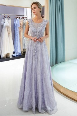 A-line Sleeveless Lace Appliques Flowers Formal Dresses_6