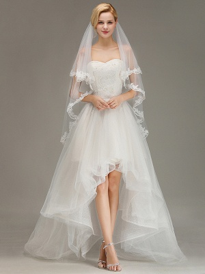 Two Layers Lace Edge Wedding Veil with Comb Soft Tulle Bridal Veil