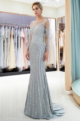 Mermaid Long Sleeves Sequined Pattern Evening Dresses
