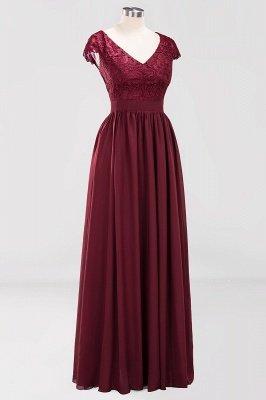 A-line Chiffon Lace V-Neck Sleeveless Floor-Length Bridesmaid Dresses with Ruffles_3