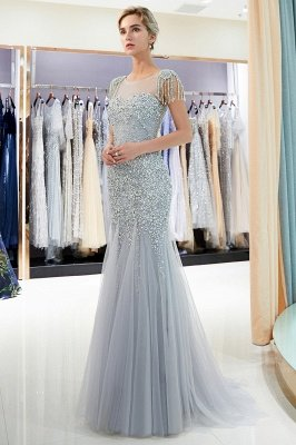 Mermaid Sleeveless Tulle Flower Beading Evening Dresses