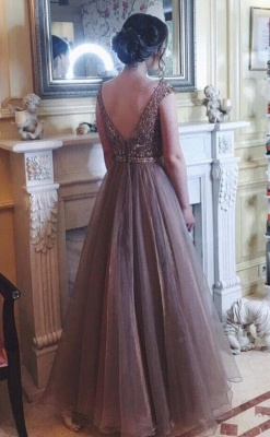 Chocolate Crystals  Tulle Sweep Train Prom Dress_1