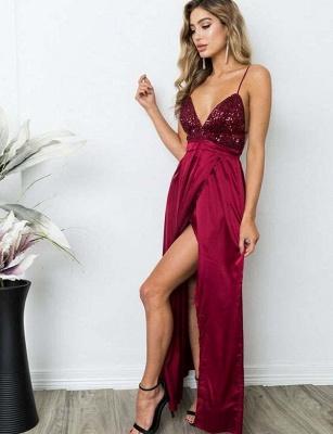 Sexy  Spaghetti Straps V-Neck Sequins Burgundy Prom Dress_4