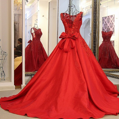 Elegant Red Bateau Sleeveless Backless Floor-Length Evening Gown With Bow_4