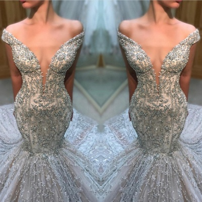 Charming Off The Shoulder Sexy Bridal Gowns | Cheap Tulle Beading  Mermaid Court Train Wedding Dress_3