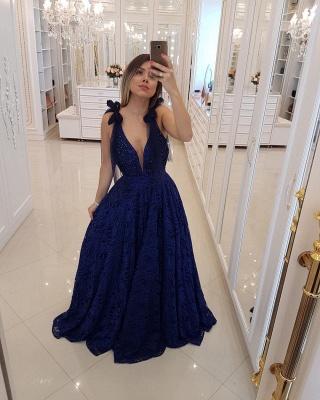 Sexy Deep V-Neck Sleeveless Tulle  Prom Dress_1