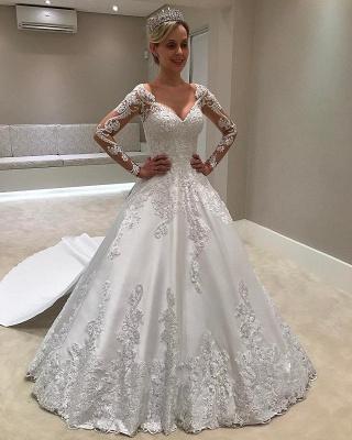 Cheap Long Sleeve Satin V-Neck Appliques A-Line Wedding Dresses Sexy_1