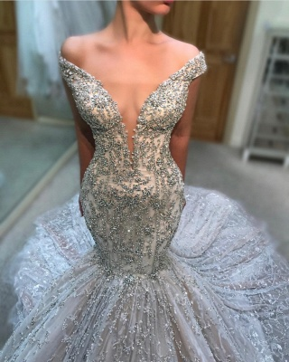 Charming Off The Shoulder Sexy Bridal Gowns | Cheap Tulle Beading  Mermaid Court Train Wedding Dress_1