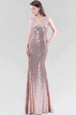 Mermaid Sequined V-Neck Sleeveless Floor-Length Bridesmaid Dress_3