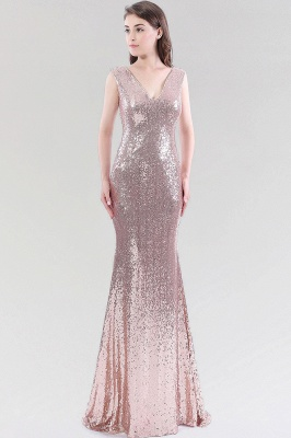Mermaid Sequined V-Neck Sleeveless Floor-Length Bridesmaid Dress_1