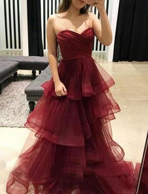 Stunning  Tiered Oganza Sweetheart Burgundy Long Prom Evening Dress_4