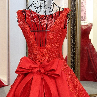 Elegant Red Bateau Sleeveless Backless Floor-Length Evening Gown With Bow_6