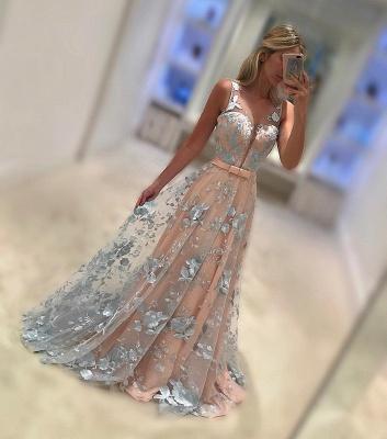 Sleeveless V-Neck Belt Applique Chiffon Sweep Train Evening Dresses_1