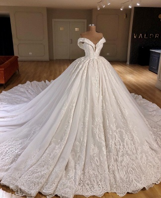 Appliques Off The Shoulder Ball Gown Chapel Train Wedding Dresses Cheap_1