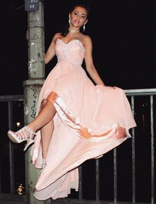 Fashion Sleeveless Appliques  Sweetheart High Low Prom Homecoming Dress_3