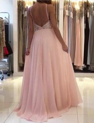 Fashion  Spaghetti Straps Beading Pink Floor-Length Prom Dress_4