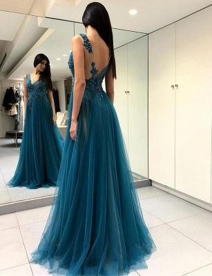 Fashion V-Neck Split Front  Appliques Blue Tulle Prom Dress_1