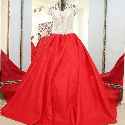 Popular Lace-up Appliques V-Neck Off-the-shoulder Ball Gown Evening Dress_1