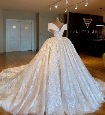 Sexy Off The Shoulder Cheap Ball Gown Chapel Train Appliques Chiffon Wedding Dresses_1