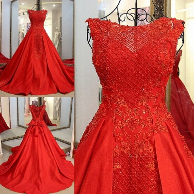Elegant Red Bateau Sleeveless Backless Floor-Length Evening Gown With Bow_7
