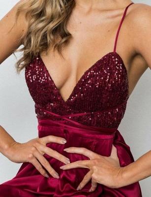 Sexy  Spaghetti Straps V-Neck Sequins Burgundy Prom Dress_7