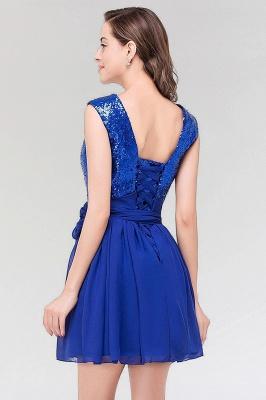 A-line Chiffon Square Sleeveless Bow Ruffles Mini Bridesmaid Dress with Sequins_2