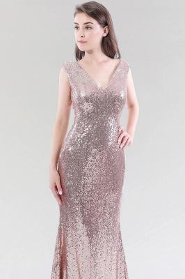 Mermaid Sequined V-Neck Sleeveless Floor-Length Bridesmaid Dress_4