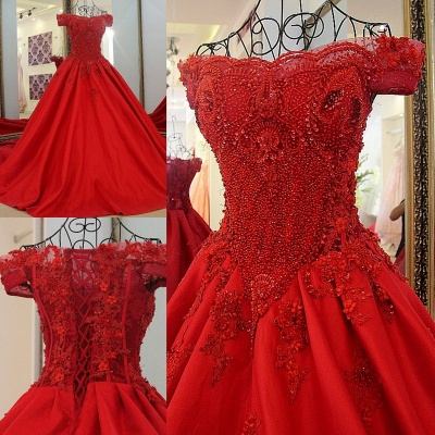 Chic Red A Line Off-the shoulder Beadings Lace-up Batreau Evening Gown_6