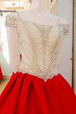 Popular Lace-up Appliques V-Neck Off-the-shoulder Ball Gown Evening Dress_3