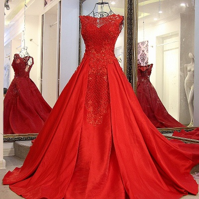 Elegant Red Bateau Sleeveless Backless Floor-Length Evening Gown With Bow_3