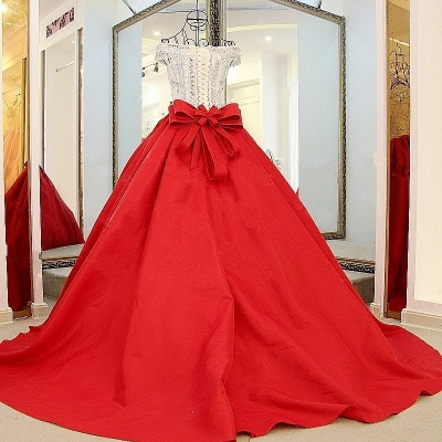 Popular Lace-up Appliques V-Neck Off-the-shoulder Ball Gown Evening Dress_4