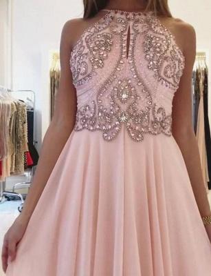 Fashion  Spaghetti Straps Beading Pink Floor-Length Prom Dress_3